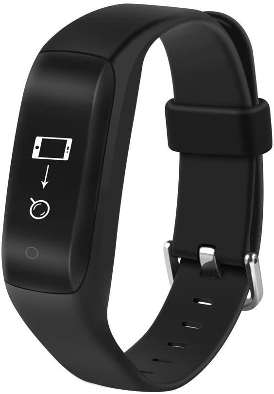 Fitness Tracker,Smart Bracelet with Heart Rate Monitor and Sleep Monitoring,Life Waterproof Activity Tracker Bluetooth Pedometer Calorie Distance Counter GPS Movement Track Call SMS Sns Reminder-A