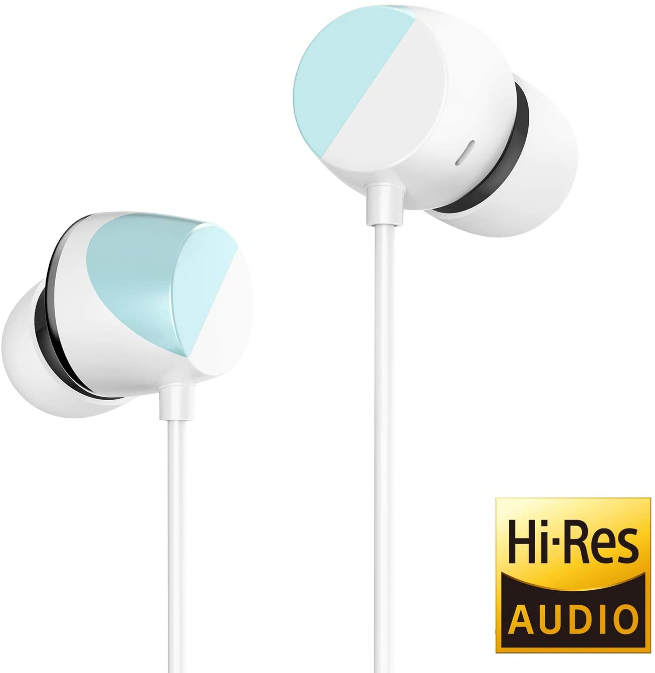 TUNAI Piano Audiophile Earphones - Hi-Res Earbuds with Dual Drivers for Incredible Balanced Sound and Clear Treble - Great for Workouts at The Gym, Sports, Listening at Home (Polar Blue)