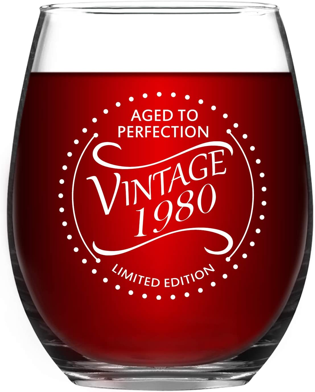 1980 40th Birthday Gifts Vintage 40 Year Old Presents Stemless Wine Glass for Men Women, 15 Oz Funny Anniversary Gift Idea Wine Glass for Her Him Husband Wife Mom Dad