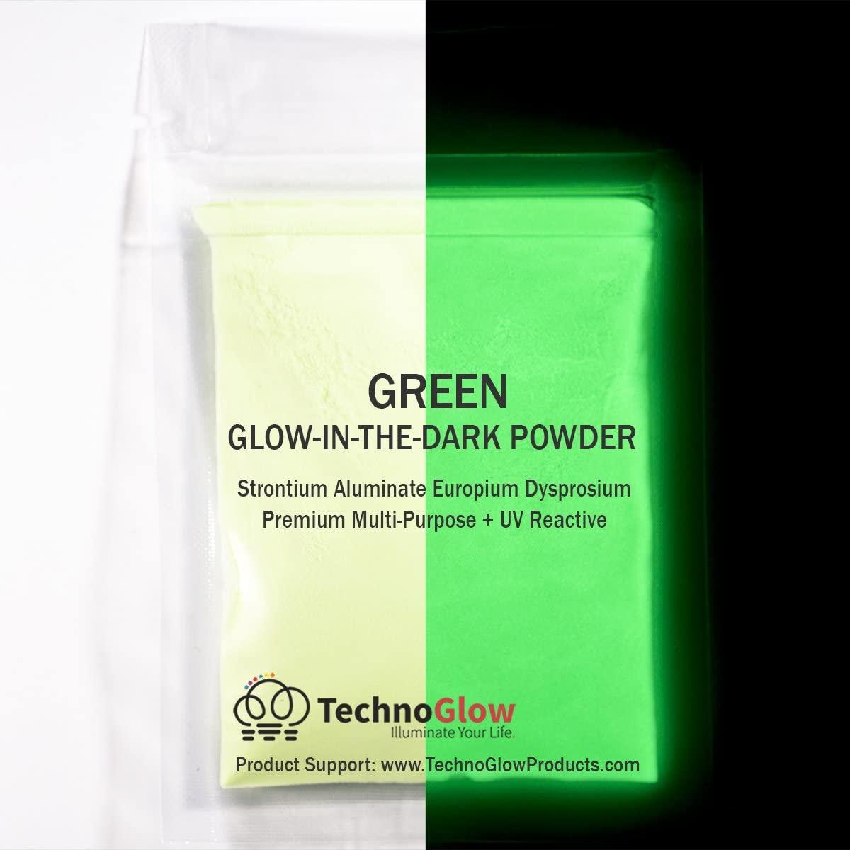 Green Glow in the Dark & UV Powder; 35-50 Microns (8 OZ)