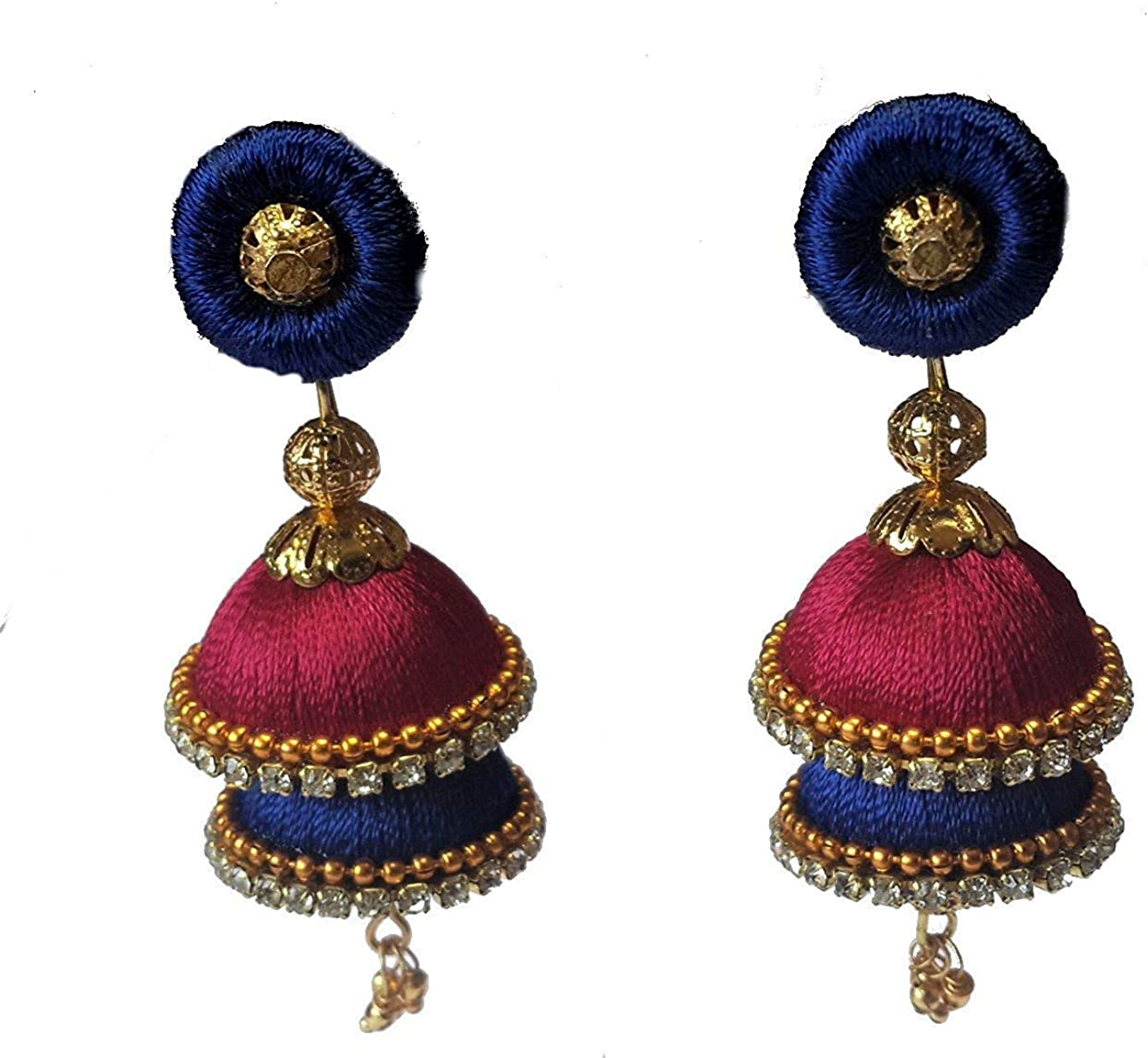 art palace Two-Step Styled, Blue & Rani-Pnk Colored, Silk/Resham Thread Jhumka with Detachable Stud