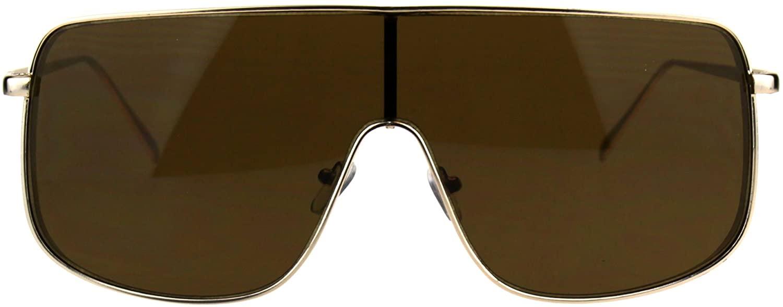Mens Oversized Futurism Robotic Shield Rapper Metal Rim Sunglasses