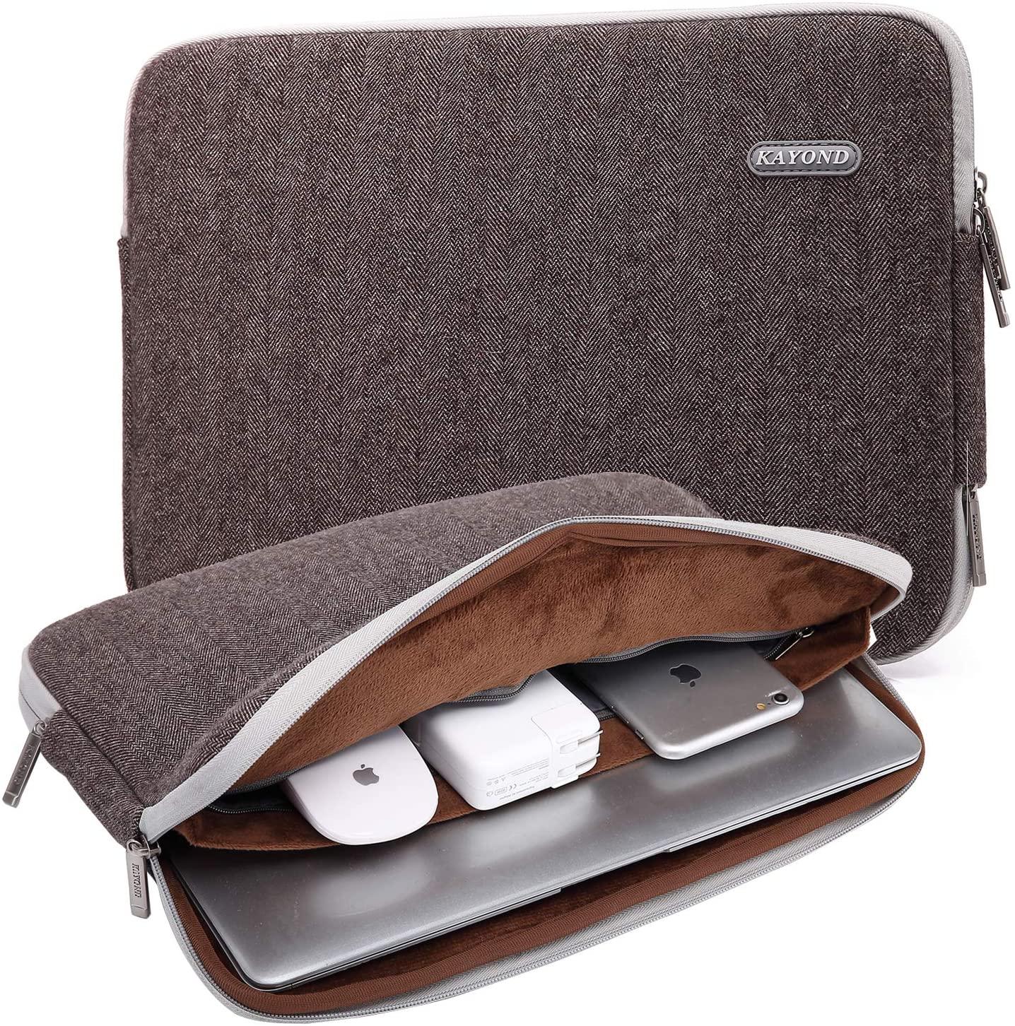 KAYOND Herringbone Woollen Water-Resistant for 13-13.3 Inch Laptop Sleeve Case Bag (13-13.3 Inches, Brown)