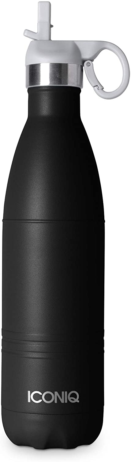 ICONIQ Stainless Steel Vacuum Insulated Water Bottle with Pop Up Straw Cap | 25 Ounce