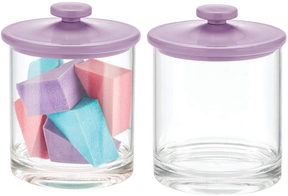 mDesign Modern Round Plastic Bathroom Vanity Countertop Storage Organizer Canister Apothecary Jar for Cotton Swabs, Rounds, Balls, Makeup Sponges, Bath Salts, 2 Pack - Clear/Light Purple