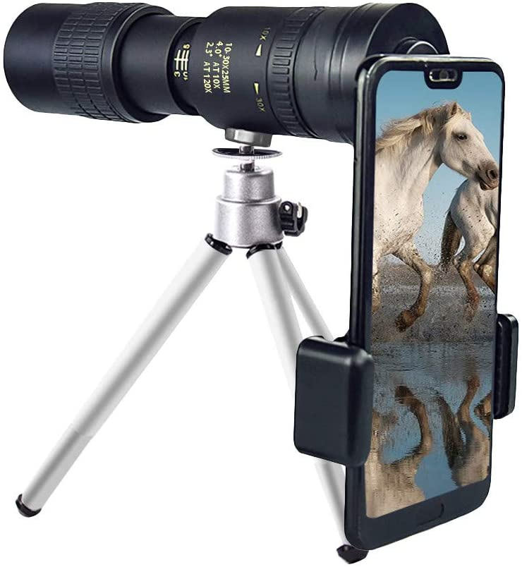 Opinionated 4K 10-300X40mm Super Telephoto Zoom Monocular Telescope, Clear Vision Fogproof Waterproof Fogproof Monocular with Smartphone Holder & Tripod for Bird Watching Hunting Camping Travelling