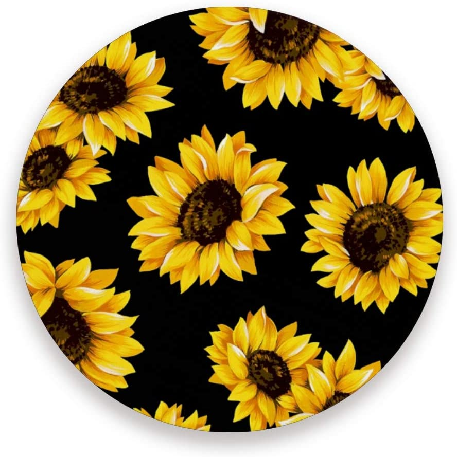Qilmy Sunflower Ceramic Coaster for Drinks Cups Mugs Non-slip Round Cup Mat Pad with Cork Base Set of 4