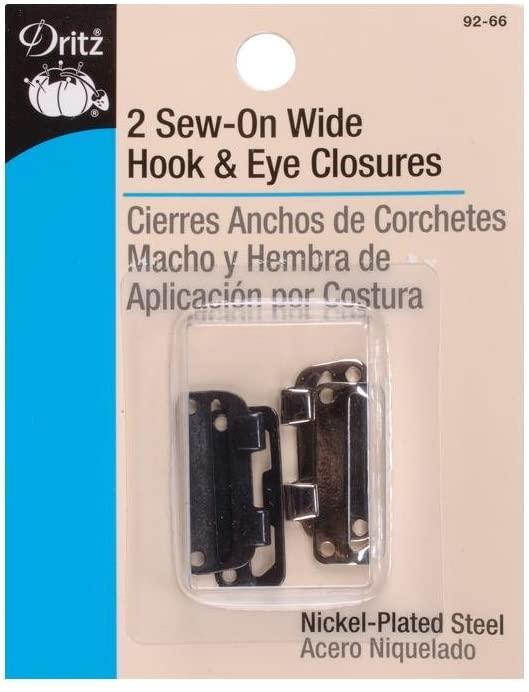 Sew-On Wide Hooks & Eyes 1 2/Pkg-Black & Nickel