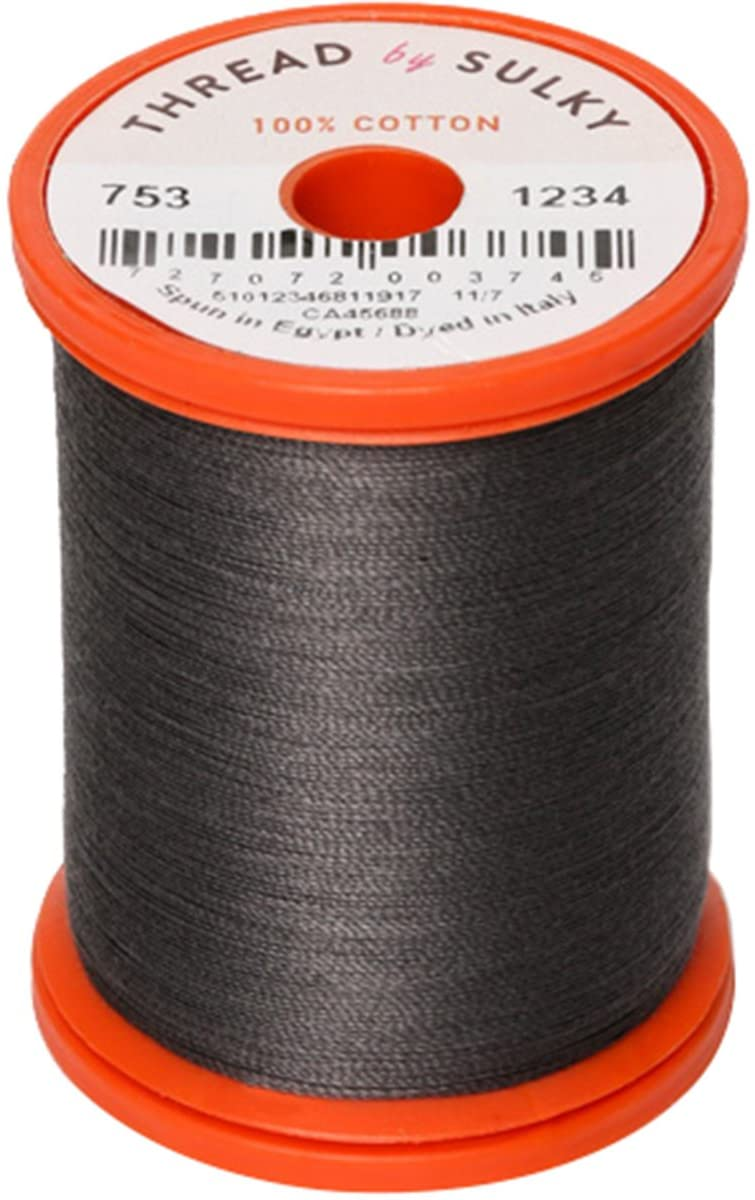 Sulky 753-1234 Cotton & Steel Thread 50wt 660yd, Almost Black