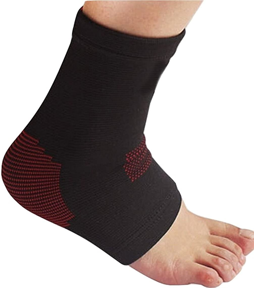 TASOM Plantar Fasciitis Compression Ankle Sleeves for Men Women Foot Heel Arch Support Socks Reduce Ankle Swelling Pain Relief Brace. (S.) Black/Red - 1 Pair (Ankle Sleeve), Large/X-Large