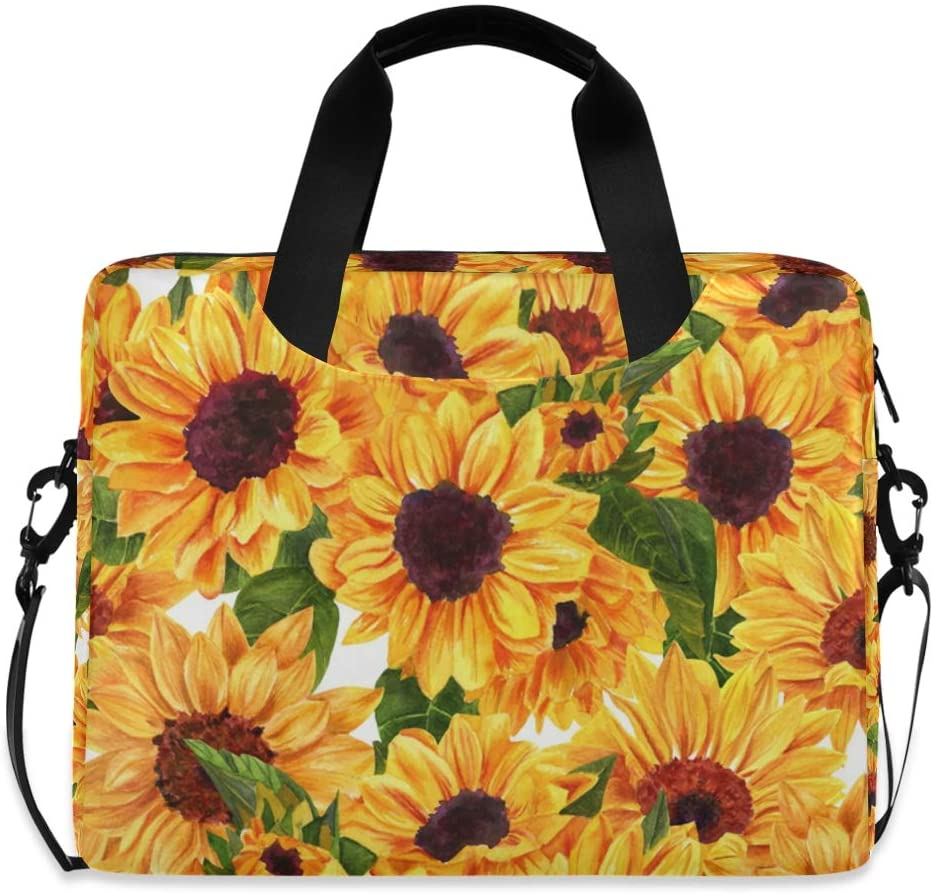 ALAZA Watercolor Sunflower Floral Yellow Laptop Case Bag Sleeve Portable Crossbody Messenger Briefcase w/Strap Handle, 16-17 inch