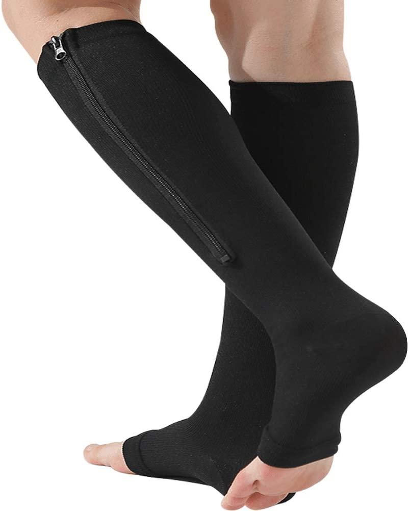 Zipper Compression Socks 15-20 mmHg, Medical Hosiery for Varicose Veins, Edema