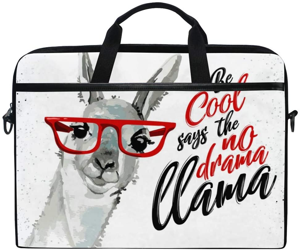 ALAZA Funny Llama No Drama Be Cool White Laptop Case Bag Sleeve Portable/Crossbody Messenger Briefcase Convertible w/Strap Pocket 15-15.4 inch, Back to School Gifts