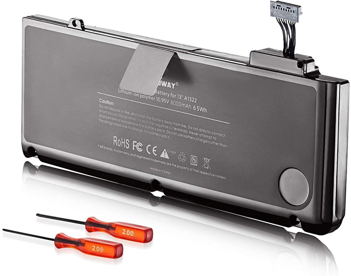 E EGOWAY Laptop Battery for MacBook Pro 13 Inch A1278 A1322 (10.95V 6000mAh)