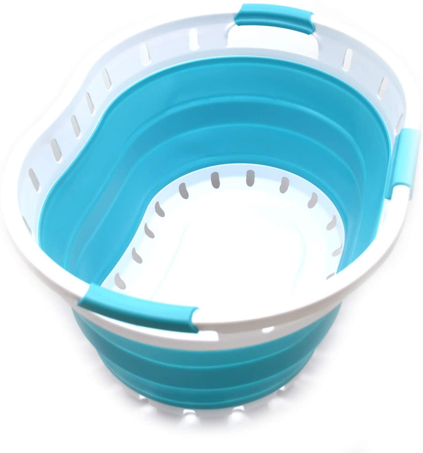 SAMMART Collapsible 3 Handled Plastic Laundry Basket - Oval Tub/Basket - Foldable Storage Container/Organizer - Portable Washing Tub - Space Saving Laundry Hamper (Bright Blue)