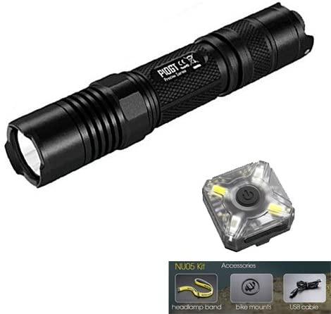 Nitecore P10GT Tactical Flashlight - CREE XP-L HI V3 LED- 900 Lumens w/FREE Nitecore NU05 Kit