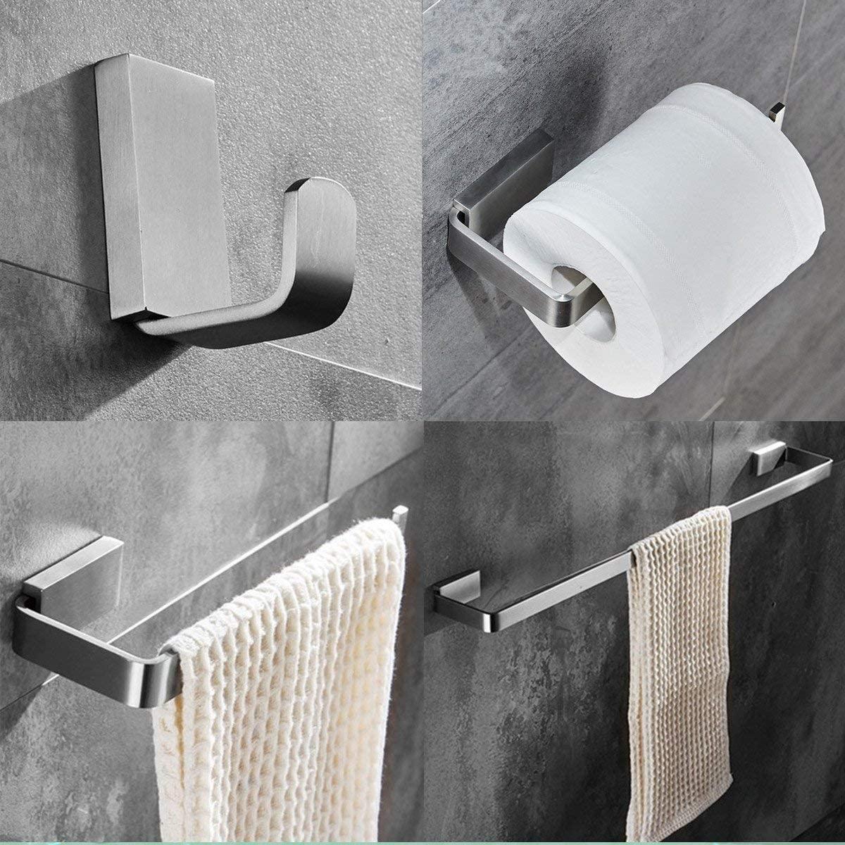 ELLO&ALLO Brushed Nickel Bathroom Hardware Set,Stainless Steel Towel Bar Wall Mounted Bath Accessories Set