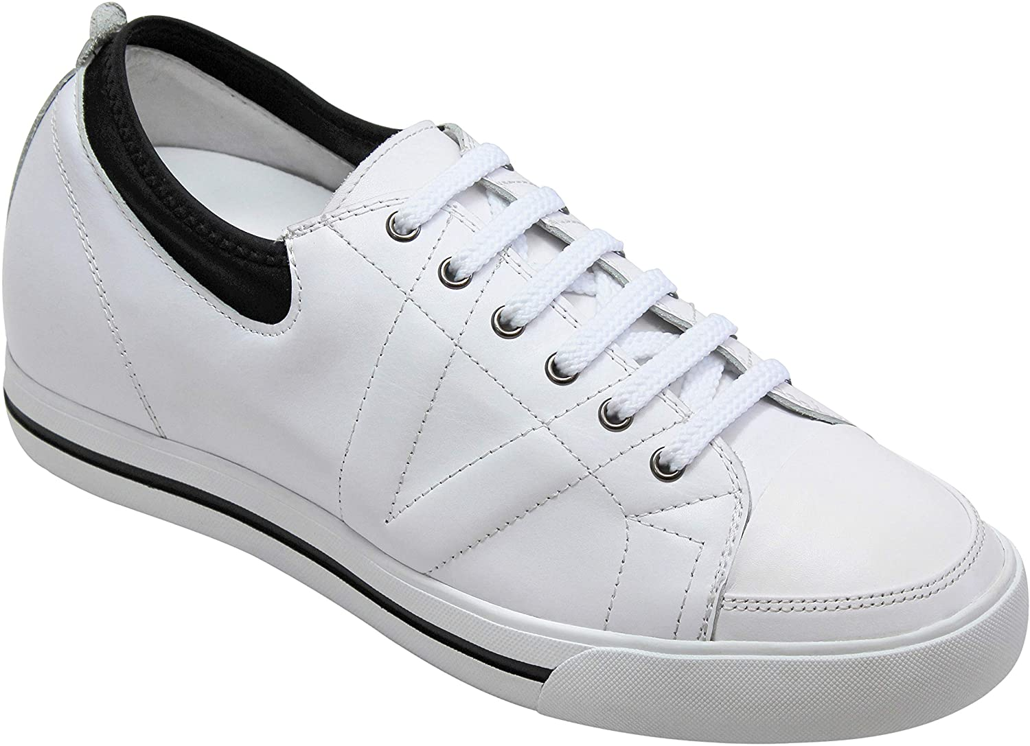 TOTO Men's Invisible Height Increasing Elevator Shoes - White/Black Leather Lace-up Sneakers - 2.4 Inches Taller - D8171