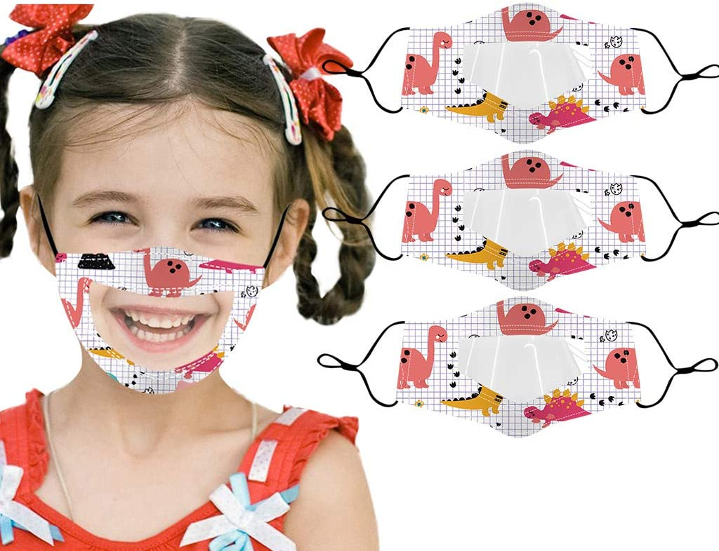 Mallocat 1/3/6PC Kids Face_Mask with Clear Window Visible Expression Reusable Washable Cute Cartoon Print Mouth Bandanas Shields Protection for Death and Hard of Hearing