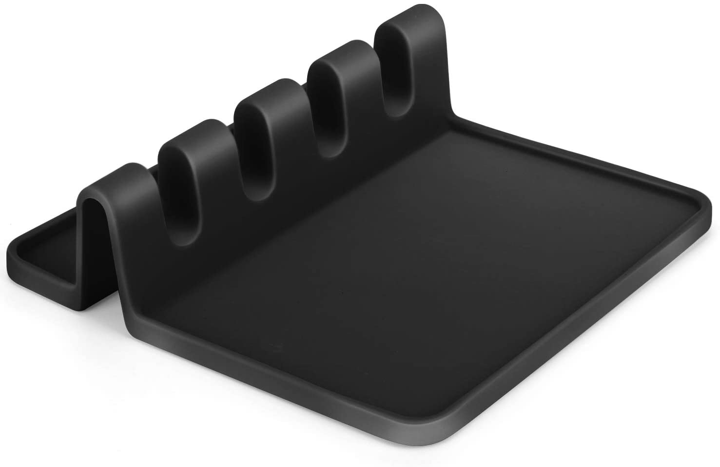 Silicone Utensil Rest with Drip Pad for Multiple Utensils,BPA-Free Spoon Rest & Spoon Holder for Stove Top,Kitchen Silicone Utensil Rest Holder for Spoons, Ladles, Tongs & More. (Black)