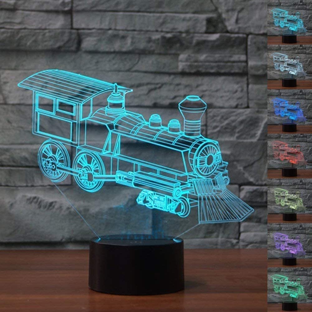 Creative 3D Train Night Light 7 Colors Changing USB Power Touch Switch Decor Lamp Optical Illusion Lamp LED Table Desk Lamp Children Kids Brithday Christmas Gift