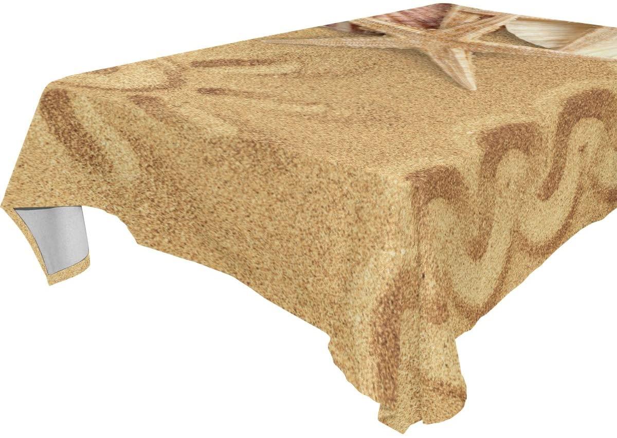 WOZO Rectangular Sea Beach Sand Starfish Shell Tablecloth Table Cloth Cover for Home Decor Dinner Kitchen Party Picnic Wedding Halloween Christmas 54x54 inch