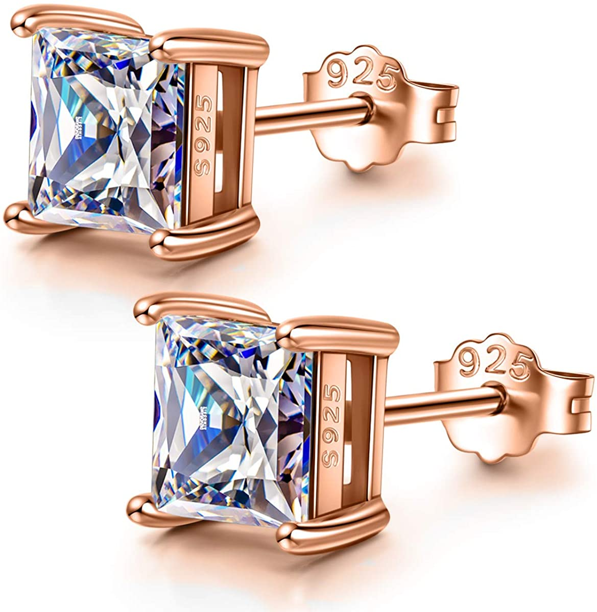 NINA&NANA 925 Sterling Silver Stud Earrings for Women, Zirconia from Swarovski, Rose Gold/Silver, 4MM-5MM, Earrings for Mom Wife Ladies with Delicate Gift Box