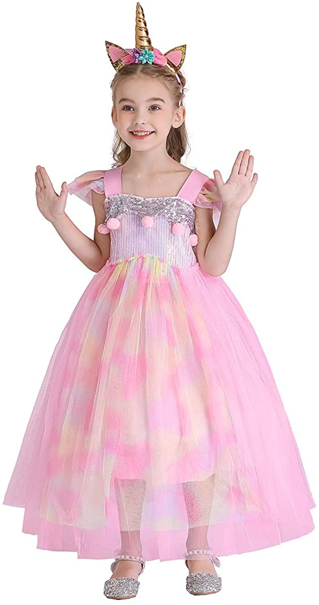 MYRISAM Girls Unicorn Costume Sequin Rainbow Tutu Dress Halloween Carnival Christmas Birthday Pageant Party Wedding Outfits