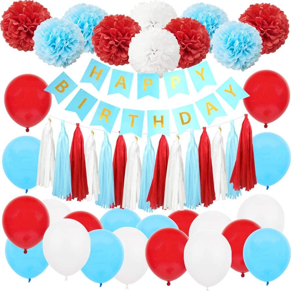 InBy 49PCS Dr Seuss Cat Carnival Happy Birthday Red Blue White Baby Shower Party Decoration Supply Kit - 'Happy Birthday' Banner, Tissue Paper Pom Pom, Tassel Garland, Latex Balloon