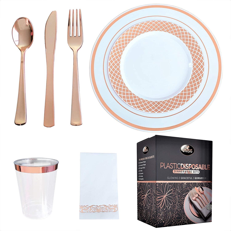 VNSG Rose Gold Plastic Plate Set┃175pcs for 25 Guests┃Rose Gold Disposable Plates┃Rose Gold Party Plates┃25 Dinner Plates, 25 Dessert Plates, 25 Cups (10oz), 25 Forks, 25 Spoons, 25 Knives, 25 Napkins