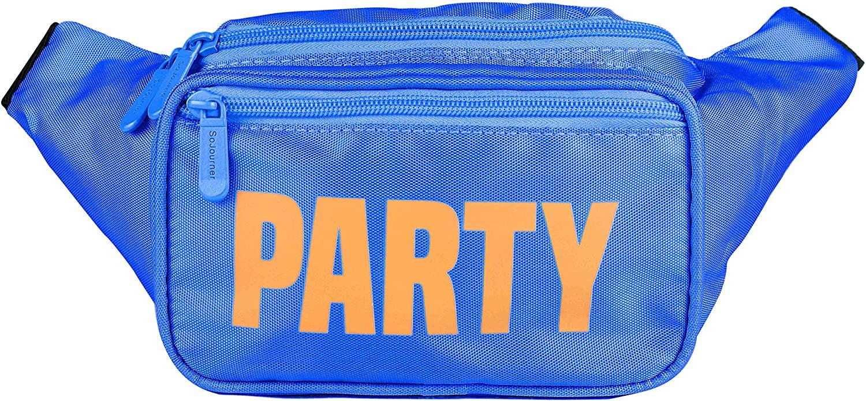 SoJourner Blue Party Fanny Pack - Neon Packs for men, women | Cute Waist Bag Fashion Belt Bags rave festival