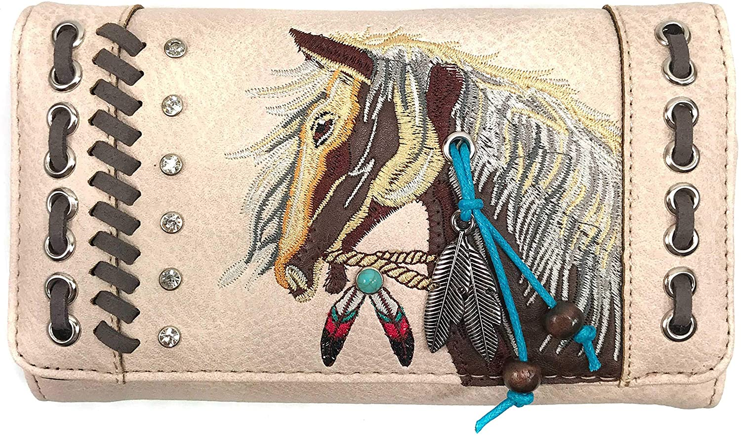 Zelris Dakota Dales Pony Horse Embroidery Mane Western Country Women Crossbody Wallet