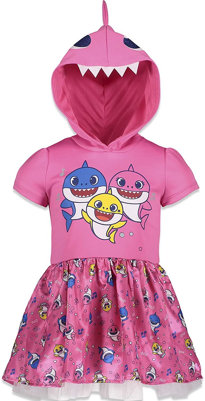 Pinkfong Baby Shark Girls Hooded Short Sleeve Costume Dress