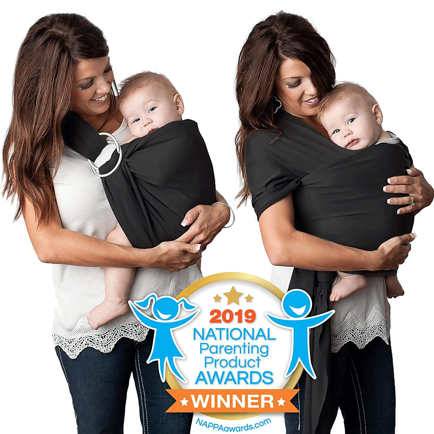 4 in 1 Baby Carrier Wrap and Baby Sling Carrier, Black Cotton, Ring Sling