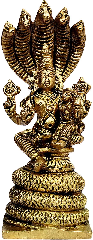Purpledip Brass Statue Vishnu-Lakshmi (Laxminarayana) on Shashnag: Rare Collectibe Statue (12067)