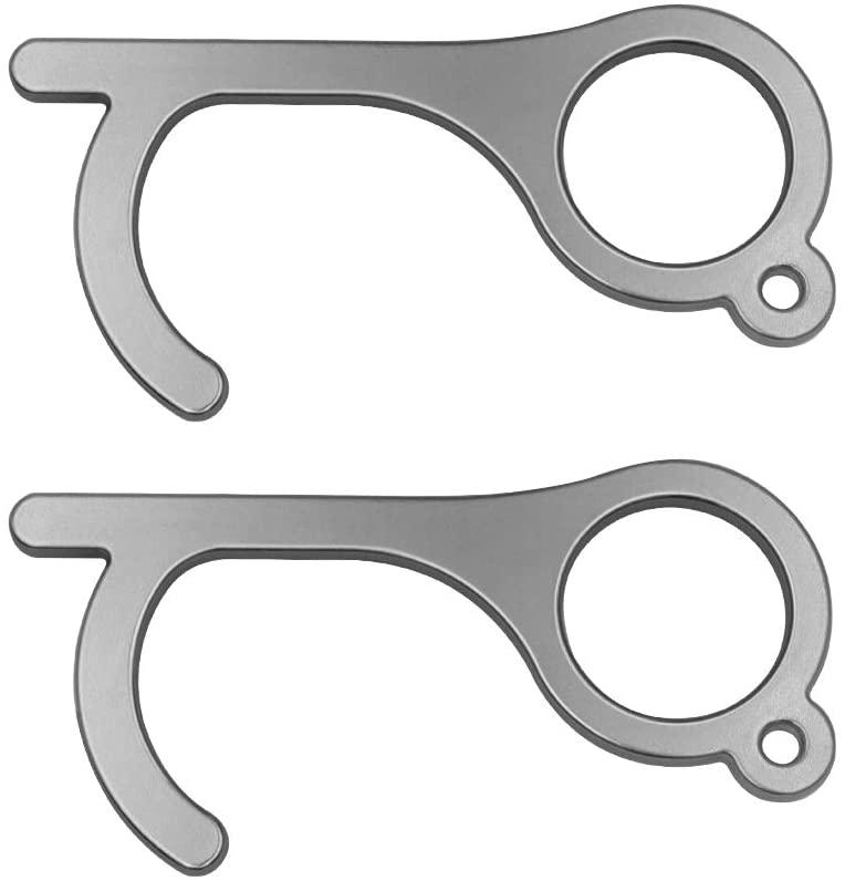 No touch door opener, Clean keychain tool,2PCS Black Germ key