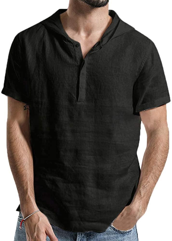 Rela Bota Mens Cotton Linen Shirts Short Sleeve Solid Hooded Henley Hoodie Sweatshirts