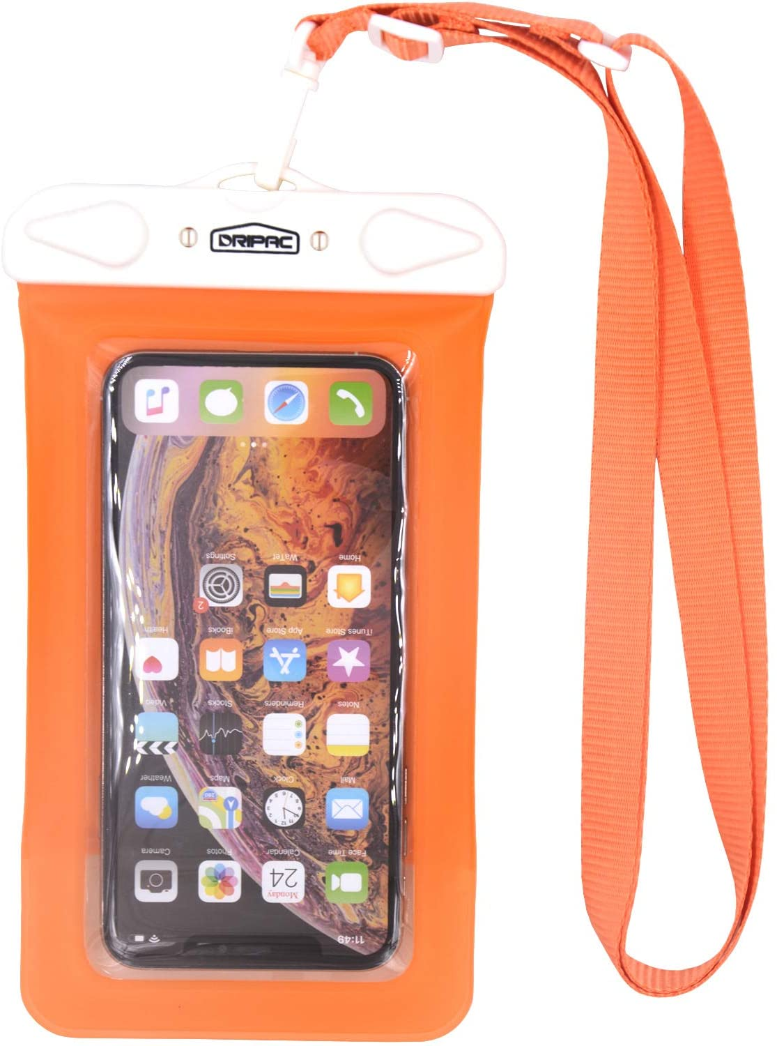 DRIPAC TPU Floating Waterproof Phone Bag,IPX8 Universal Waterproof Phone Pouch, Underwater Waterproof Phone Case Compatible with iPhone11/Xs Max,Samsung S10 Plus (Orange)