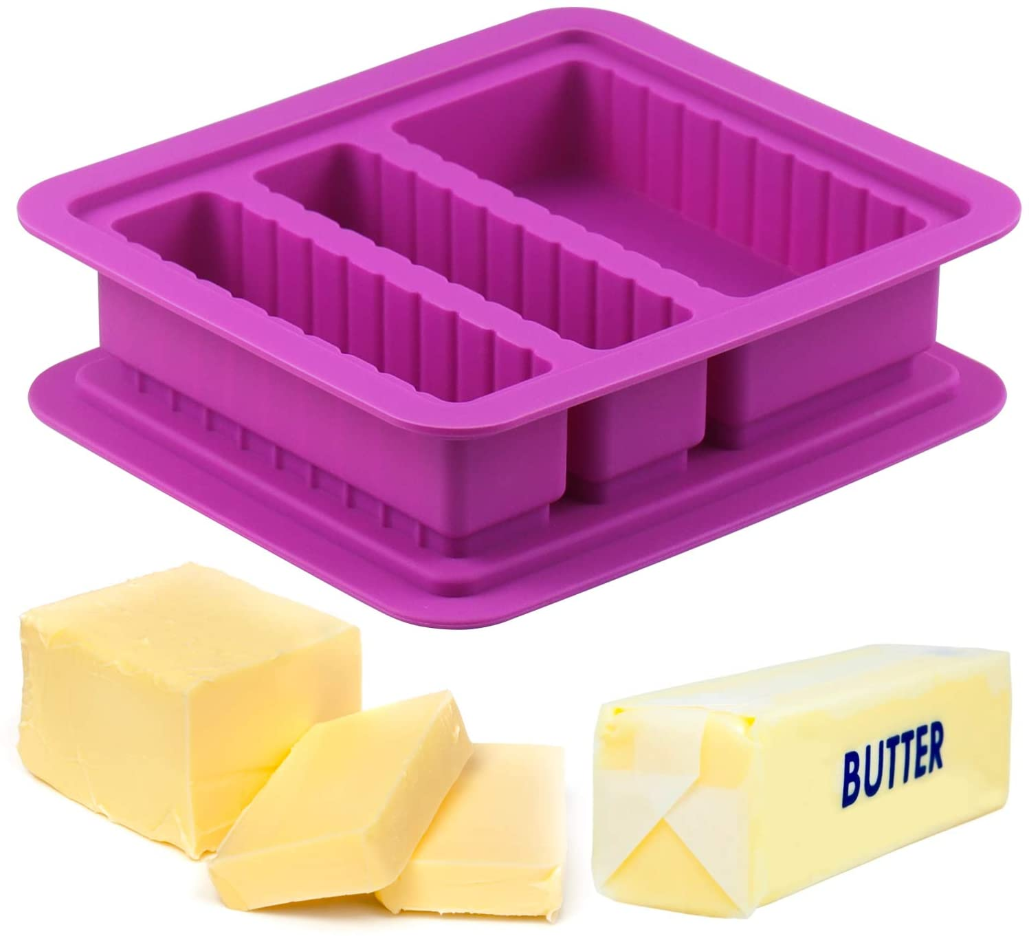 Butter Silicone Tray Mold with Lid, Butter Maker with 2 Standard Cavities and A Large Cavity Rectangle Container for Butter, Soap Bar, Energy Bar, Muffin, Brownie, Cornbread, Cake, Pudding