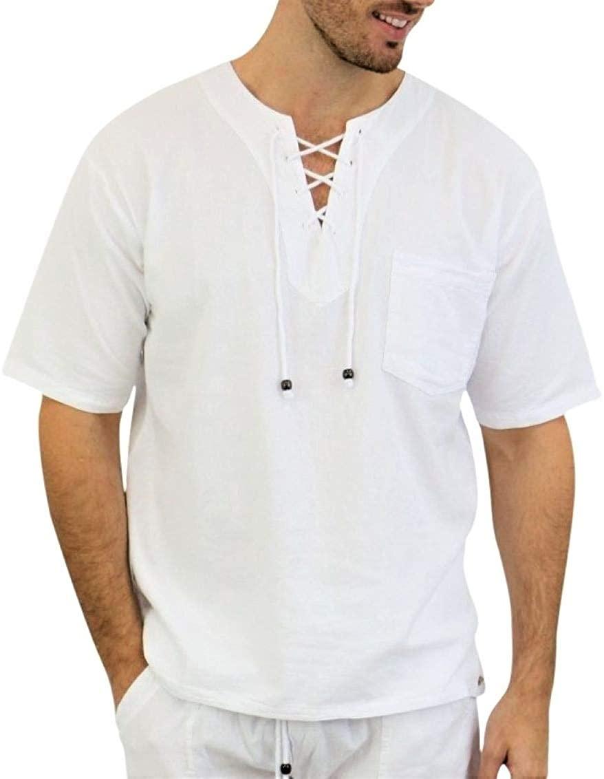 Pure Cotton Men's White Shirt- 100% Cotton Casual Hippie Shirt Long Sleeve Beach Yoga Top | The Perfect Summer Shirts for Men (White-HAW, Medium)
