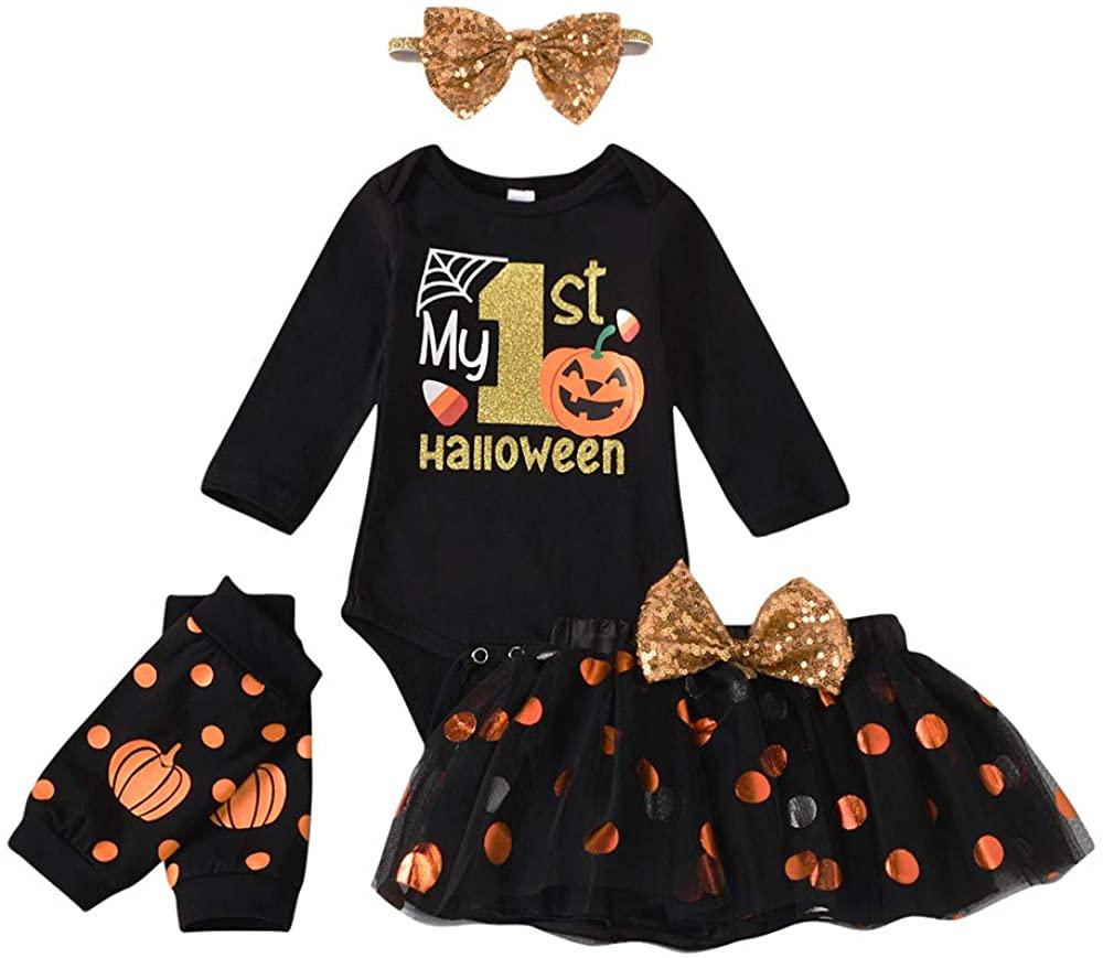 Newborn Baby Girls Halloween Outfits Costume My 1st Halloween Romper+ Tutu Skirt+ Leg Warmer+ Headband 4Pcs Outfit Set