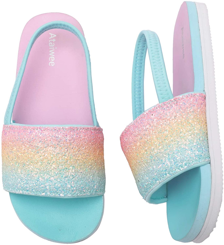 Ataiwee Toddler Girls Pool Slide Sandals, Non-Slip Elastic Band Back Beach Shoes.