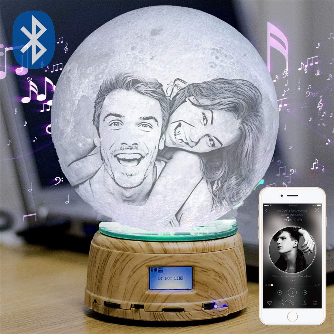 Photo/Text Custom Moon Lamp Night Light 3D Print Rechargeable Lamp LED Moon Light Bluetooth Music Box Best Gift Personalized Gifts