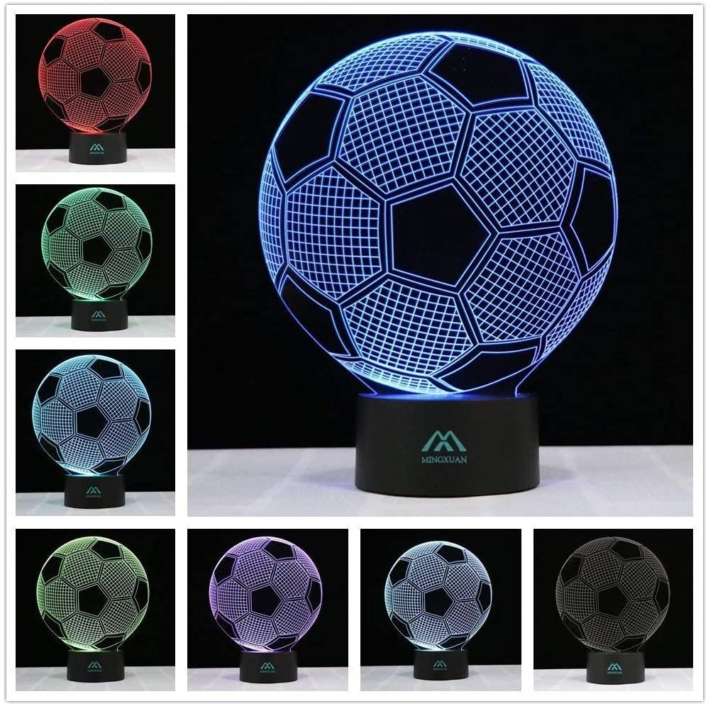 3D Football Night Light Touch Table Desk Lamps 7 Color LED Touch Table Desk Lamps Fashion Creative Home Decoration Gift