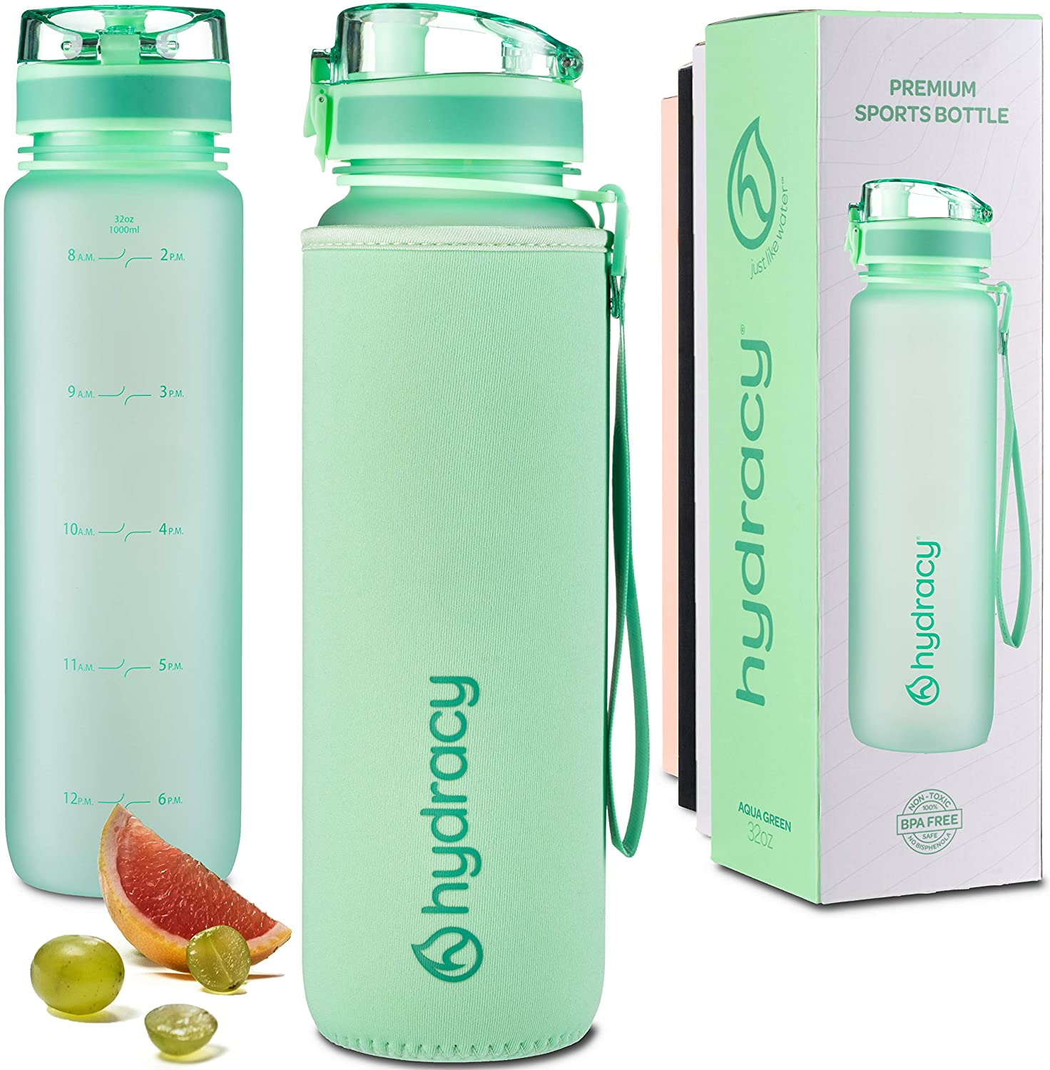 Hydracy Water Bottle with Time Marker - Large 1 Liter 32 Oz BPA Free Water Bottle - Leak Proof & No Sweat Gym Bottle with Fruit Infuser Strainer - Ideal for Fitness or Sports & Outdoors - Aqua Green