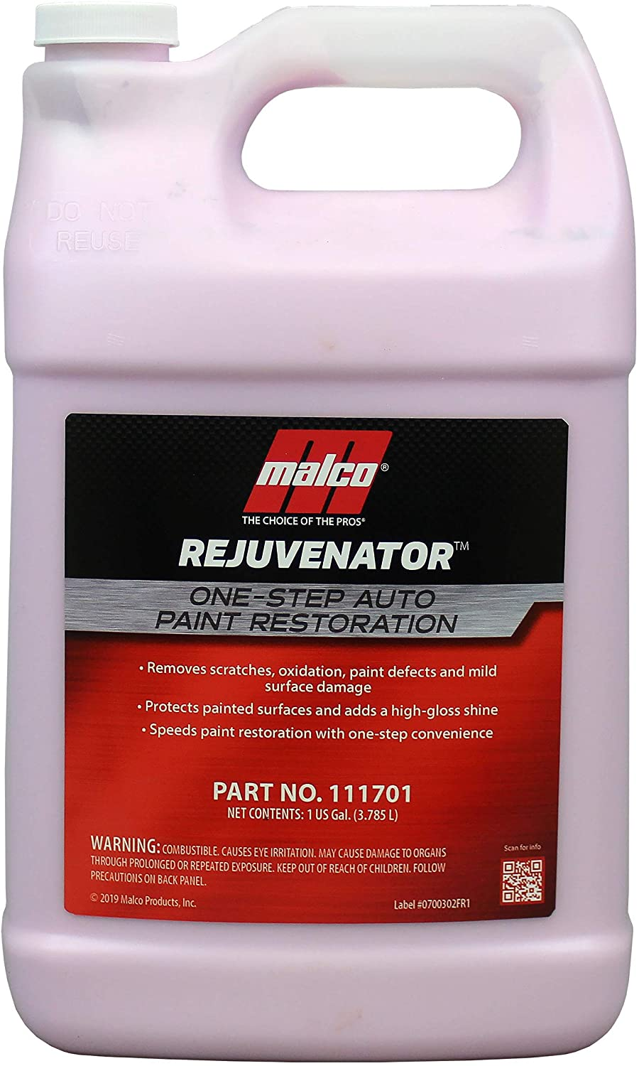 Malco Paint Rejuvenator - One Step Automotive Paint Restoration/Clear Coat Scratch and Swirl Remover/Re-Shine Old, Aged Paint to Look New / 1 Gallon (111701)