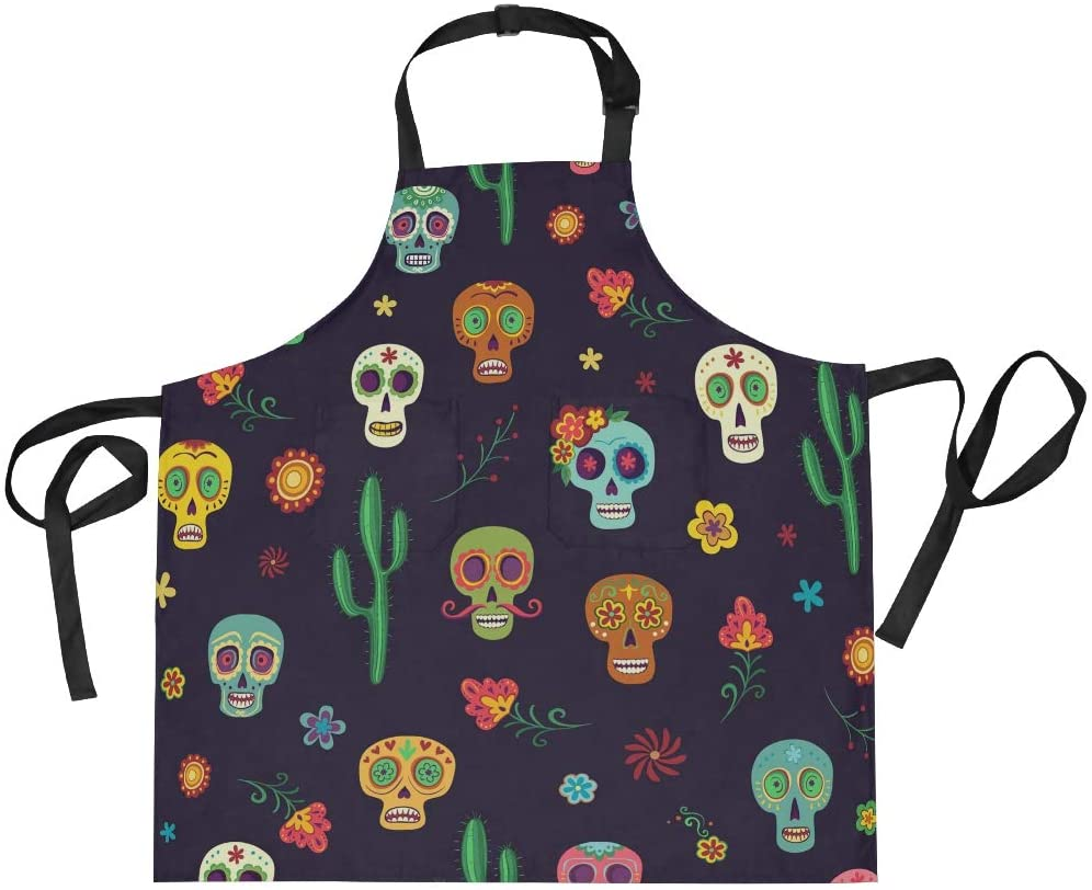 Mexican Sugar Skulls Cactus Aprons for Women Men Adjustable Bib Apron with Pockets for Home Kitchen Cooking Chef Grilling BBQ Gardening