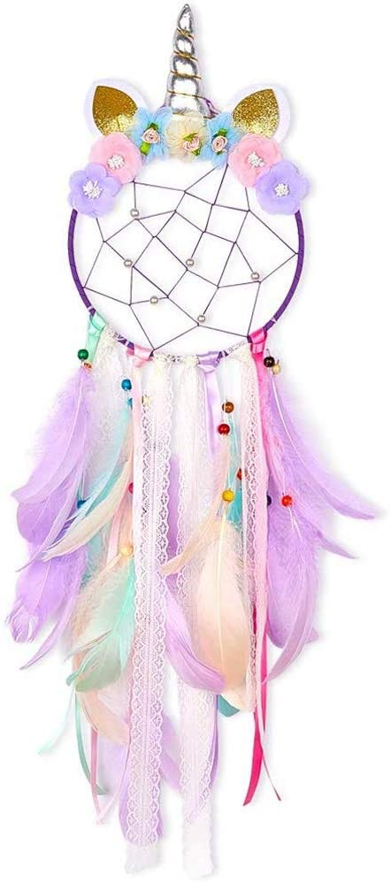 QHiYan Dream Catchers for Kids, Handmade Flower Unicorn Dream Catcher, Colorful Feathers Wall Hanging Home Decoration for Baby Girls Bedroom