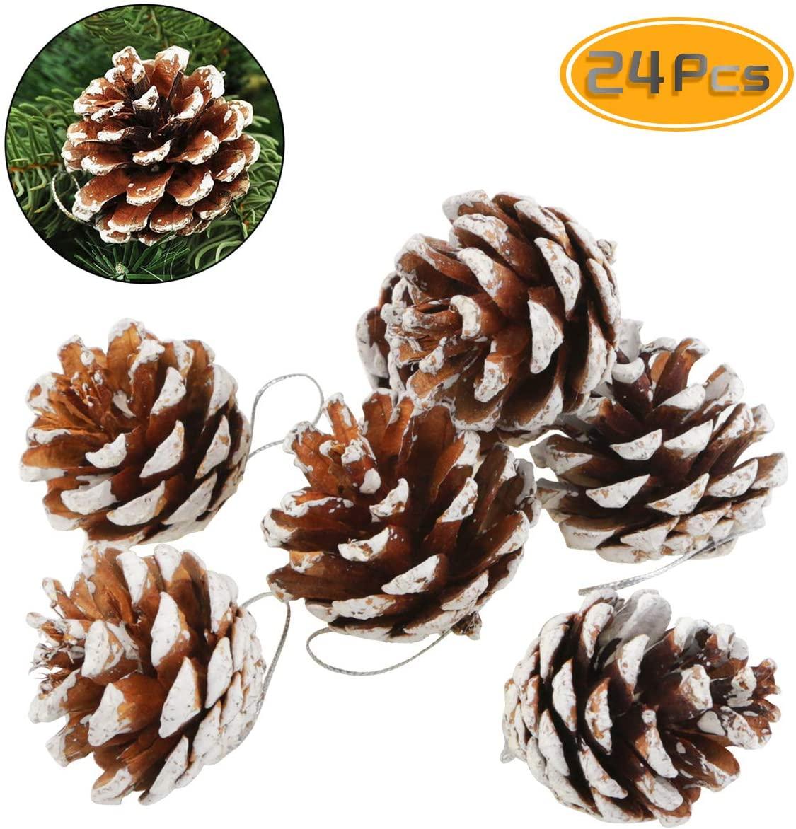 BeautyMood 24 pcs Natural Pine Cone Christmas Pine Cone Ornaments Christmas Tree Decorations – Snowflake. (Snowflake)