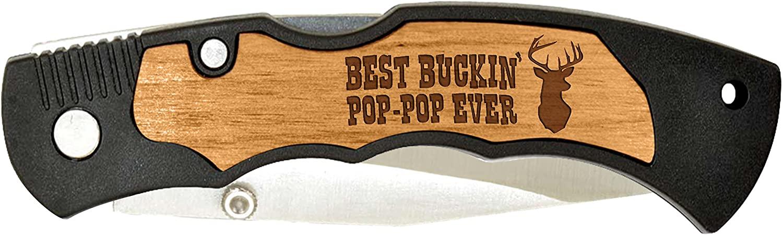 New Grandpa Gift Best Buckin Pop-Pop Laser Engraved Stainless Steel Folding Pocket Knife